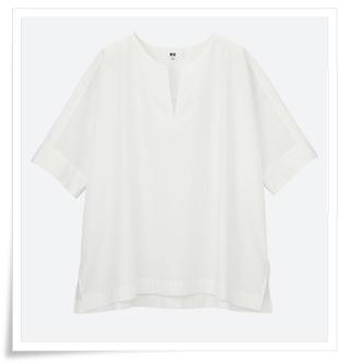 スキーパー襟 サイドスリット入り5分袖シャツ
